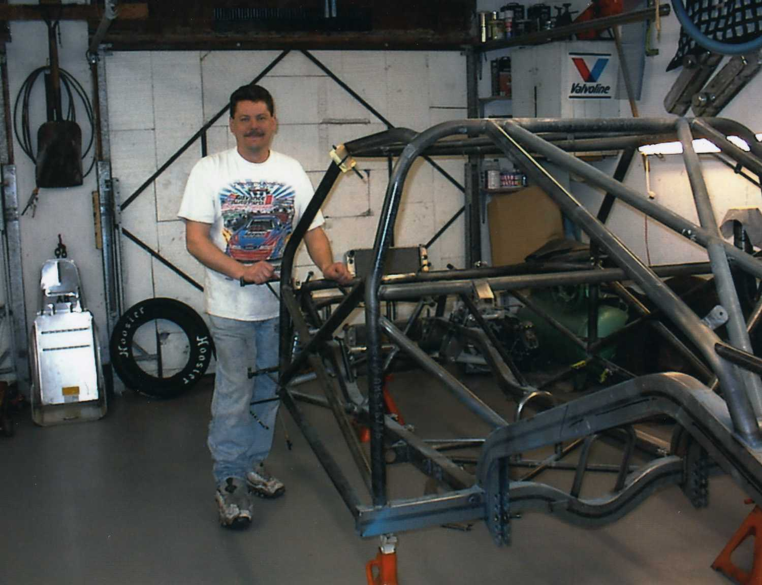 Keith with the frame of his 69 Dodge Dart